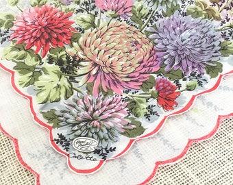 """Vintage Handkerchief, Wedding Ladies Hanky, Multicolor Mums, Colette,  Mother of the Bride, Bridesmaid, Bride Original Tags Farmhouse  14"""""""