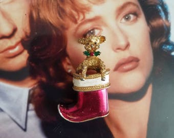 Gerry's Signed Moveable Poodle In Christmas Stocking Red Boot Pin Brooch