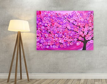 Pink Canvas Print - Raspberry Pink Abstract Tree Canvas Picture - Large Canvas Print - 40 x 30 Canvas Print Pink Abstract Tree of Life