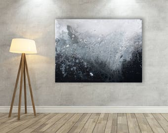 Grey Canvas Print - Monochrome Canvas Print - Black & White Canvas Picture - Grey and White Abstract Minimalist Wall Art Canvas Picture