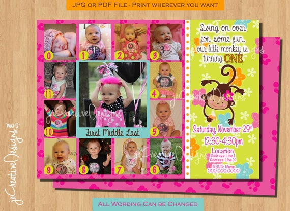 First birthday girl invitation monkey invitation 1st birthday girl il570xn filmwisefo