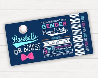 Baseball Gender Reveal Invitation Gender Reveal Party Baseballs or Bows Gender Reveal Baseball Ticket Printable Ticket Invitation