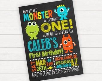 Monster Birthday Invitation, Little Monster Birthday Invitation, Boy 1st Birthday Invitation, Printable Invitation, Printed Invitations,