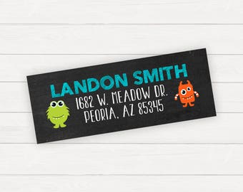 Return Address Label Printable Address Printable Return Monster Birthday Boy Birthday Printable Monster Party Little Monster
