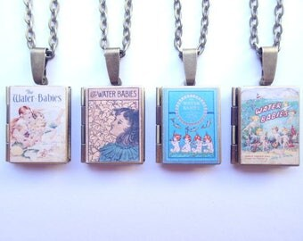 The Water Babies Charles Kingsley Resin Covered Locket Book Necklace