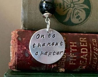 ON SALE On To The Next Chapter Bookmark - Retirement - Promotion - Reader Gift - Present Topper - Book Club - Thank You - Bibliophile