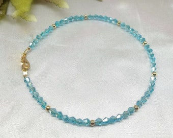 Solid 14kt Gold Anklet Aquamarine Anklet Light Blue Anklet Crystal Anklet Crystal Ankle Bracelet BuyAny3+Get1 Free
