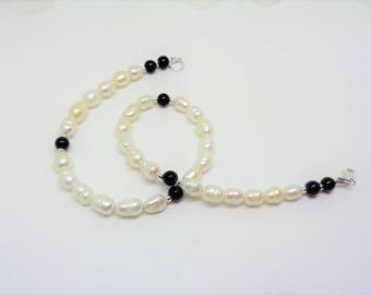 Black Onyx Ankle Bracelet Pearl Ankle Bracelet Pearl and Black Onyx Anklet Sterling Silver Ankle Bracelet BuyAny3+1 Free