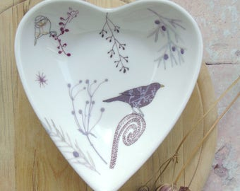Heart trinket dish - Bird Jewellery Dish - Wedding gift - Jewellery dish - Anniversary gift - China Trinket Dish - Gift For Her-Heart Bowl
