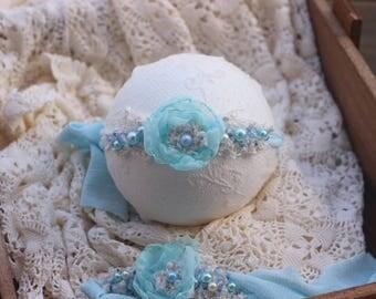 ready to ship newborn photography prop baby photo prop-beaded flower tieback headband with beads, aqua blue colored headband