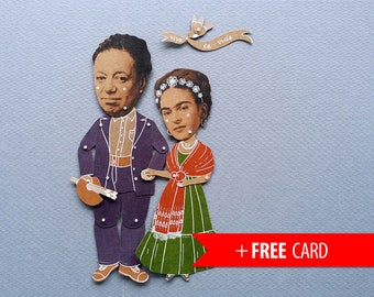Articulated paper dolls Frida Kahlo Diego Rivera Christmas gift Xmas present puppets handmade greeting card mexican artists portrait mexico