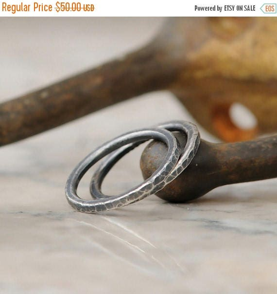 ON SALE Stacking Rings - Set of Two Fine Silver Handmade Stackable Rings