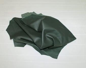 Italian Lambskin Lamb leather skin skins hide hides Soft Natural Dark GREEN 20sqf #A2620