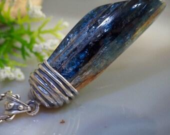 Kyanite Pendant Blue Crystal Sterling Silver