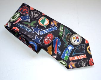 Vintage 90s NFL Logos tie 1994 Wallywear Tie Necktie High Fashion  mens  sport fan Football Teams classic Fathers day gift made in USA