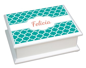 Personalized Moroccan Teal Lift Top Jewelry Box Morrocco Teal Pattern Art Decoblue Green Middle Eastern Print jeweb-pat-417c