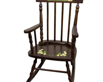 Personalized Espresso Childrens Rocking Chair with Shamrock Design-spin-esp-344