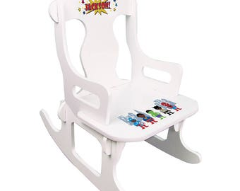 Personalized White Puzzle Rocking Chair with African American Super Hero Design-puzz-whi-227c
