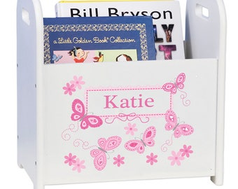 Personalized Book Caddy and Storage with Pink Butterflies Design-cadd-whi-300a