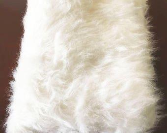 "Faux Fur White Fabric  / Photo Prop / 60""x 38"""