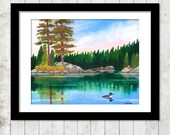 MN Boundary Waters - PRINT of 8x10 watercolor painting, unframed, unmatted