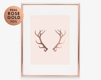 ANTLERS Rose Gold Foil Print Reindeer Art Poster Glam Rustic Desk  Woodland Animal  Poster Deer Nature Office Decor Moose Pink Decor B13