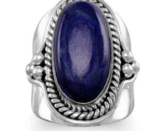 Vintage Inspired Sterling Silver Oxidized Lapis Gemstone Ring
