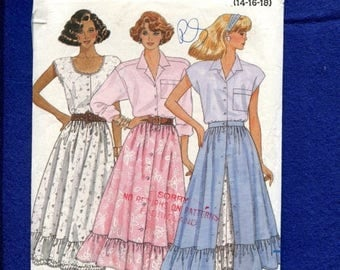 15% OFF SALE Vintage 1987 Butterick 4843 Country Western Swing Ruffle Tier Skirt Sizes 14..16..18 UNCUT