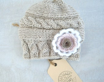 READY TO SHIP Knit  Baby Hat, Baby Girl Hat, Newborn Beanie, Baby Newborn Hat, Baby Girl Beanie, Newborn Baby Hat, Knit  Hat, Newborn Prop