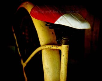 Christmas in July Bike Seat Photo, Modern Abstract Photography, Hipster Bicycle Print, Travel Picture, Red Yellow Dorm Bedroom Livingroom Ho