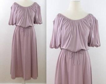 SALE Soft Dusk Open Shoulder Dress - Vintage 1980s Circle Skirt Mauve Dress in Medium Large by Orite