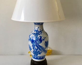 Vintage Blue and White Ginger Jar Chinoiserie Table Lamp, Pheasant and Floral Motif