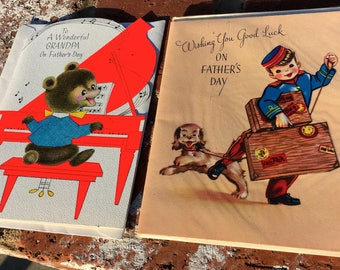 """Vintage  40's """"FATHER'S DAY"""" Card  & 50's """"GRANDPA"""" Father's Day Card"""