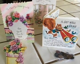 """Vintage 40's """"GET WELL"""" Greeting Cards- Lot of 3 -  Get WeLL Game Card"""