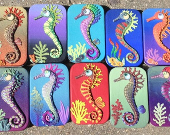 Altoid-type Tin with Polymer Clay Sculpted Seahorse
