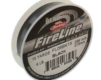 Fireline Braided Bead Thread 6lb Black Satin 15 Yards Beading Thread Beadweaving Thread White