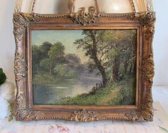 Vintage French superb oil painting on canvas.  Signed. Country scene with superb frame