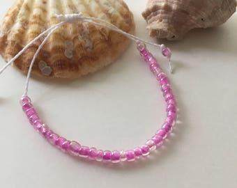 Seashell Jewelry ... Wish Bracelet ... Adjustable ... Seed Bracelet on White  (1633)