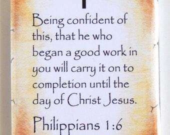 Philippians 1:6 Bible Verse Fridge Magnet (2 x 3 inches)