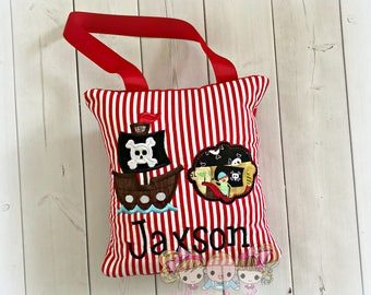 """Pirate tooth fairy pillow - personalized boys tooth fairy pillow- red striped - pirate ship- pirate themed 8"""" tooth fairy pillow with ribbon"""