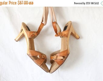 SALE wood & leather heels / 7 / 1970's