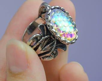 Iridescent Mermaid scale ring - adjustable