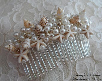 Starfish & Shell Wedding Beach Comb / Bridal Hair Comb / Natural SeaShell Comb / Beach Wedding Headpiece / Beach Wedding Comb