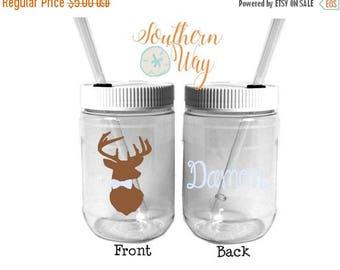 Plastic Mason Jar Cups - Deer with bow tie - Deer Party Favor - Wedding Favor - Groomsmen - Ring Bearer