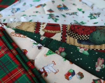 One Pound Christmas Fabric Scraps -- cotton fabric