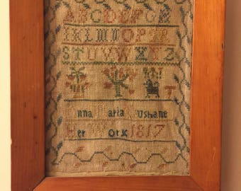 Antique Sampler 1817 Victorian Georgian Needlework Stitchery Silk work Animals Alphabet Letters Sewing Notions Seamstress Sew flowers school