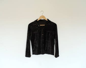 Vintage Dark Brown Velvet Button Up Long Sleeve Blouse Shirt Top