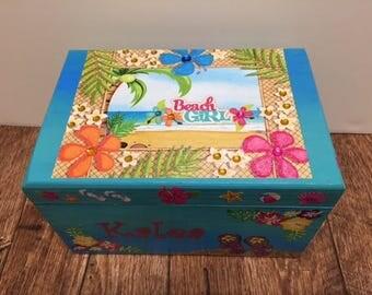 Beach Themed Wooden Treasure Box, Keepsake Box, Hawaiian Inspired Wooden Box, Beach Girl Storage Box, Beach Themed Trinket Box, Girls Gift