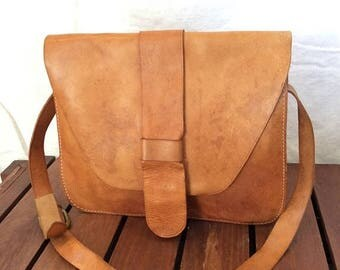 15%OFF VACATION SALE Great Vintage Genuine La Bagagerie Paris Tan Leather Small Briefcase Shoulder Bag Made in France