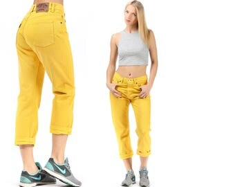 Mom Jeans 80s High Rise Jeans High Waisted Denim Mom Pants Zip Up Tapered Trousers Yellow Boyfriend Ankle Pants Vintage Waist 30 Medium